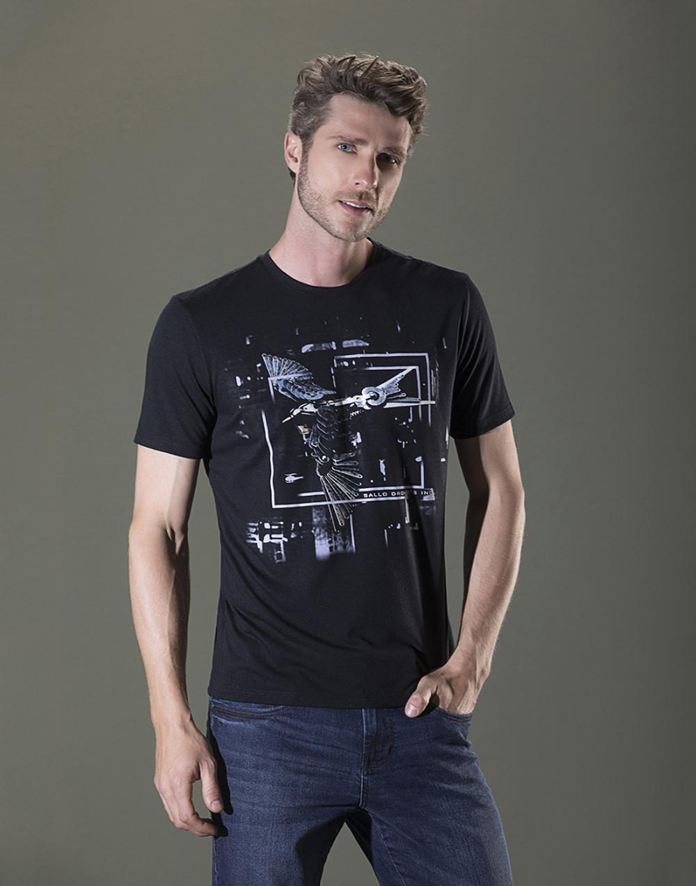 Camiseta Gola O. Estampada Preto Sallo