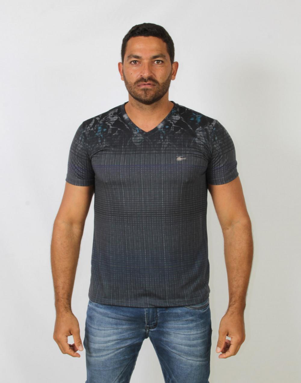 Camiseta Gola V. Estampada Mescla Escuro Sallo