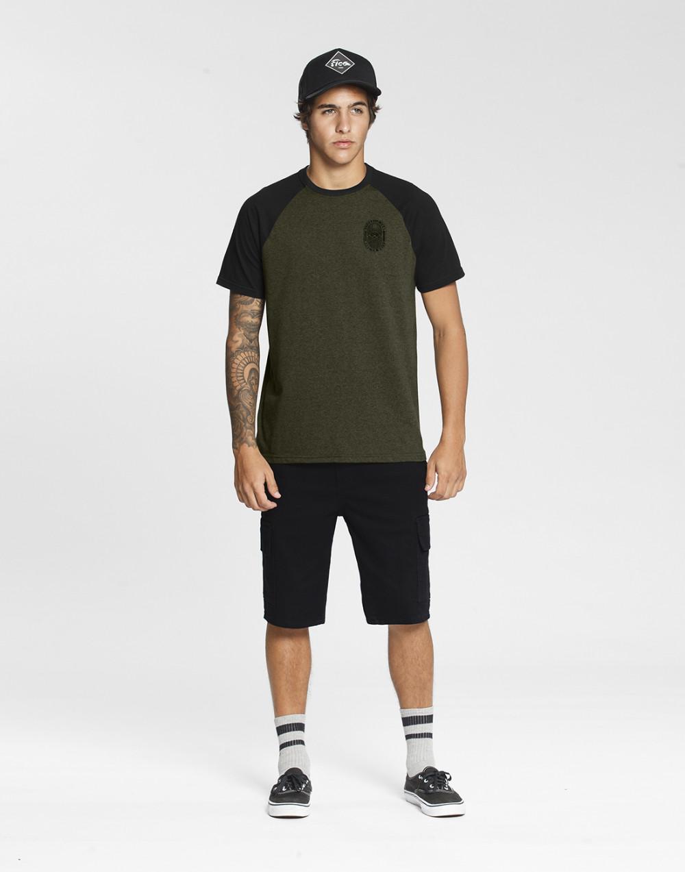 Camiseta Malha Corse Color e Meia Malha Penteada Verde Vegas Fico