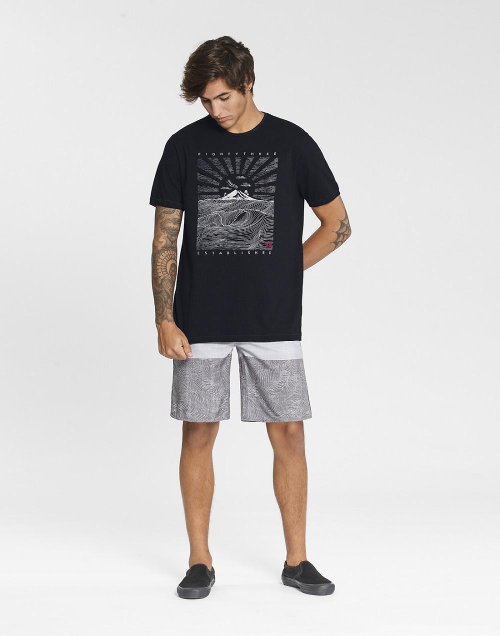 Camiseta Malha Moulinê Vanizado Estampa Preto Fico