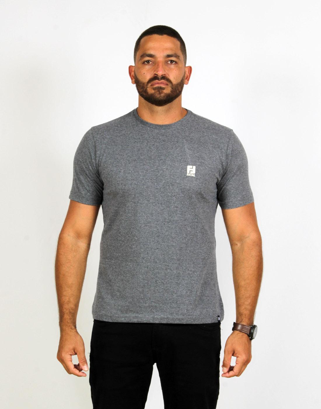 Camiseta Masc. Fashion Basic Mescla Escuro Fatal