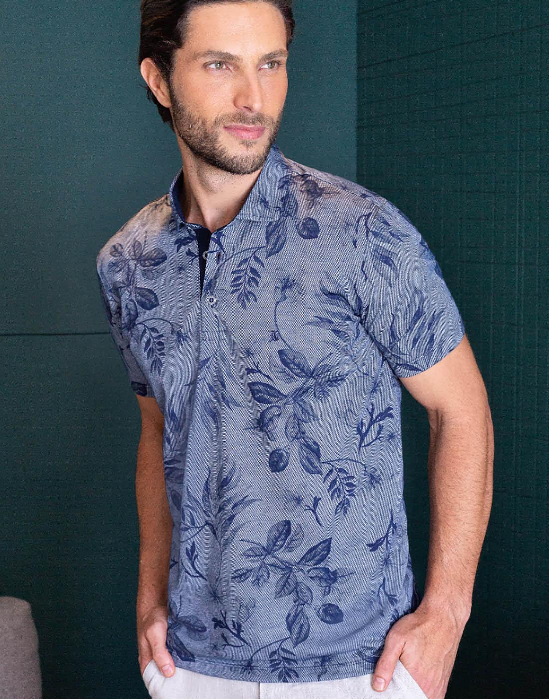 Camiseta Polo Estampada Azul - Baumgarten