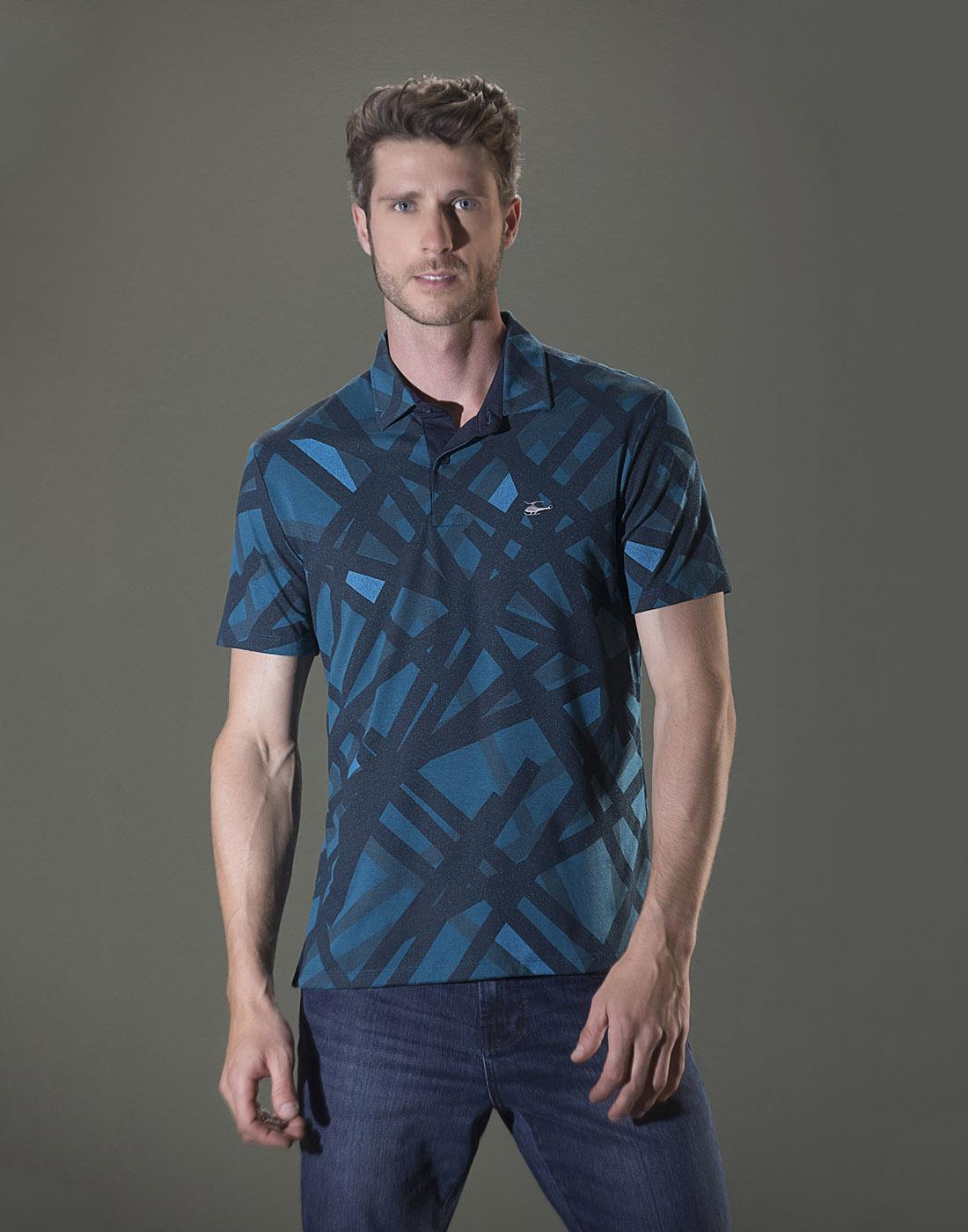 Camiseta Polo Estampada Azul Sallo