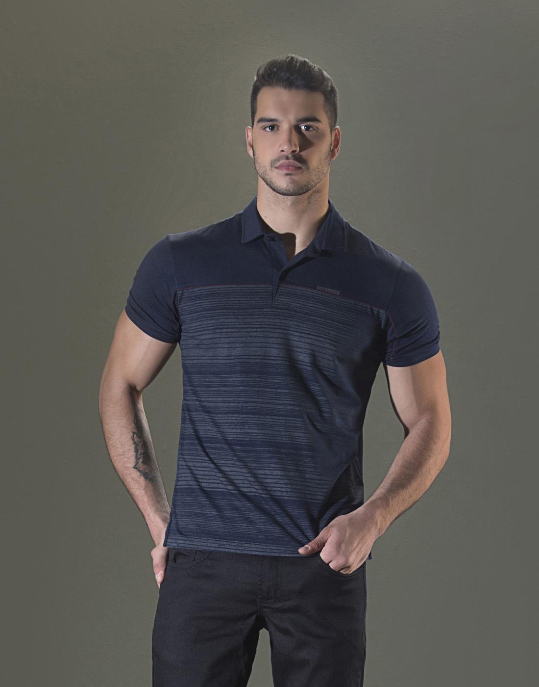 Camiseta Polo Estampada Marinho Sallo