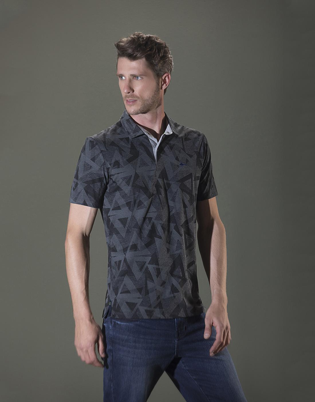 Camiseta Polo Estampada Mescla Escuro Sallo