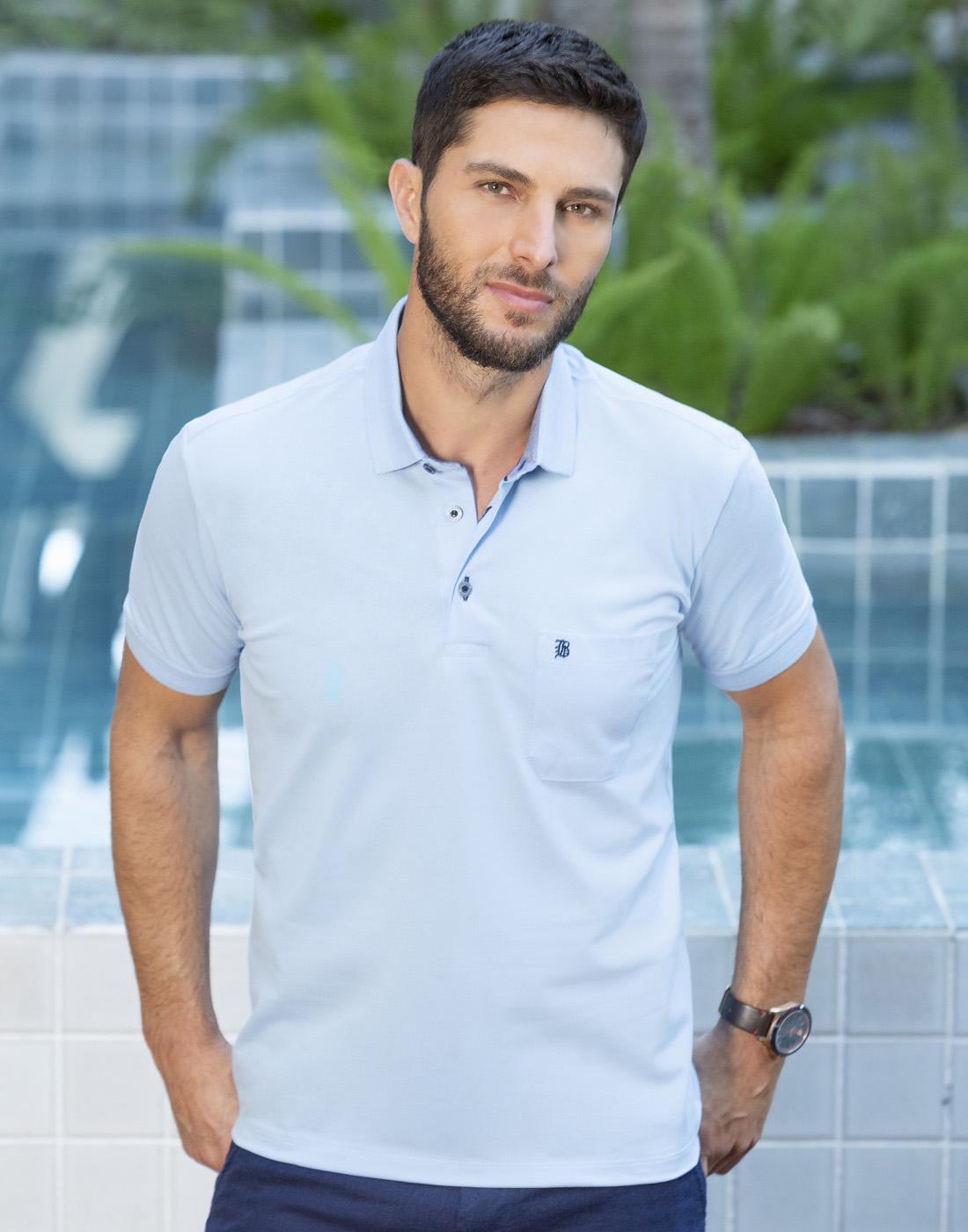 Camiseta Polo Estampada Plus com Bolso Azul - Baumgarten