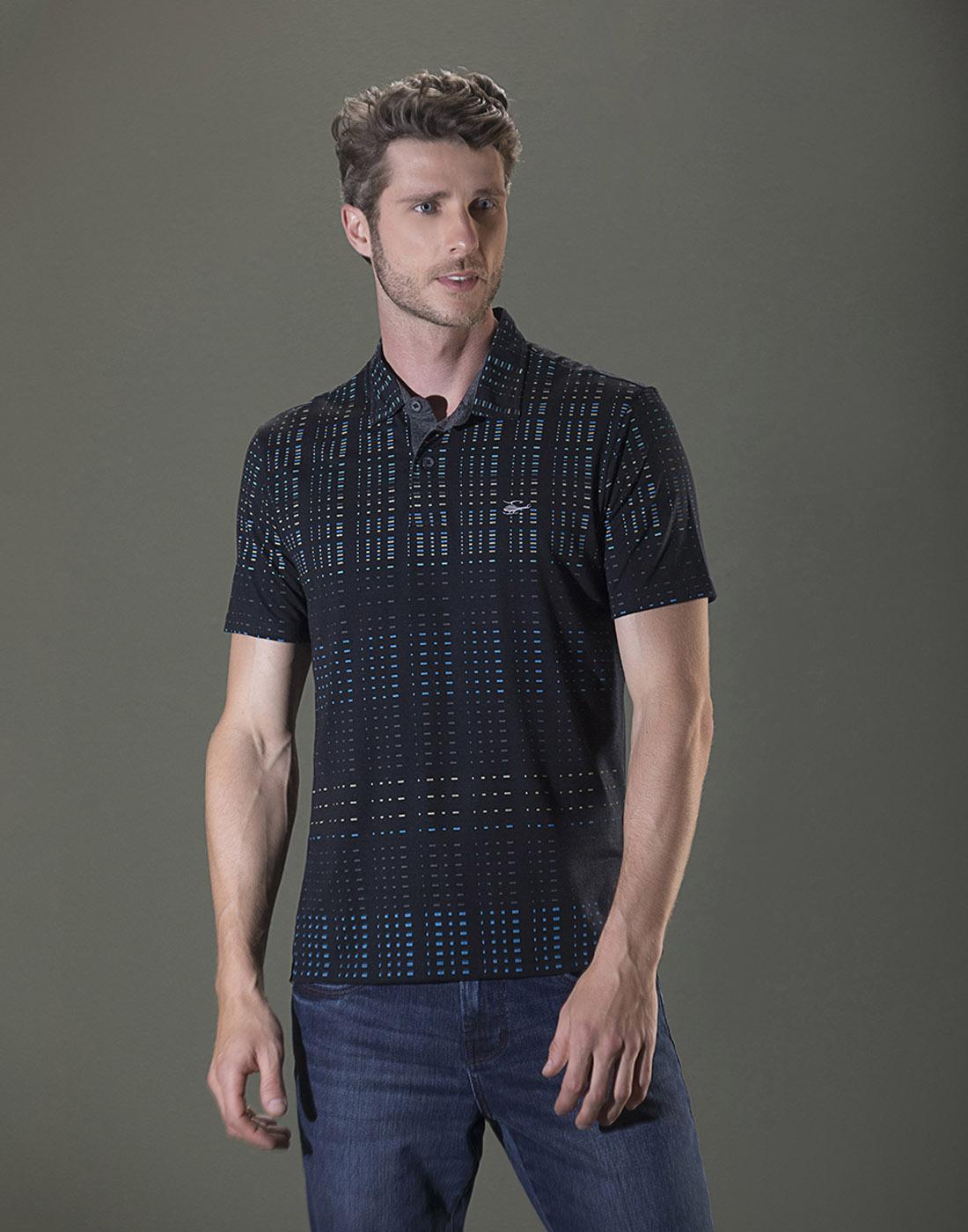 Camiseta Polo Estampada Preto Sallo