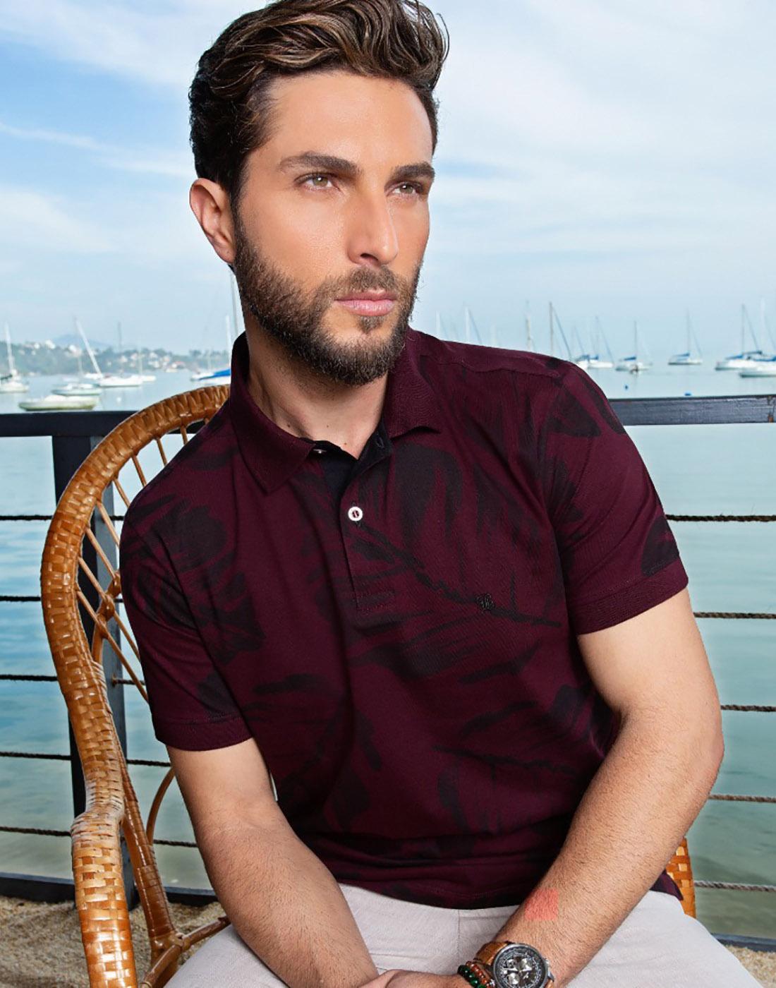 Camiseta Polo Estampada Vinho - Baumgarten