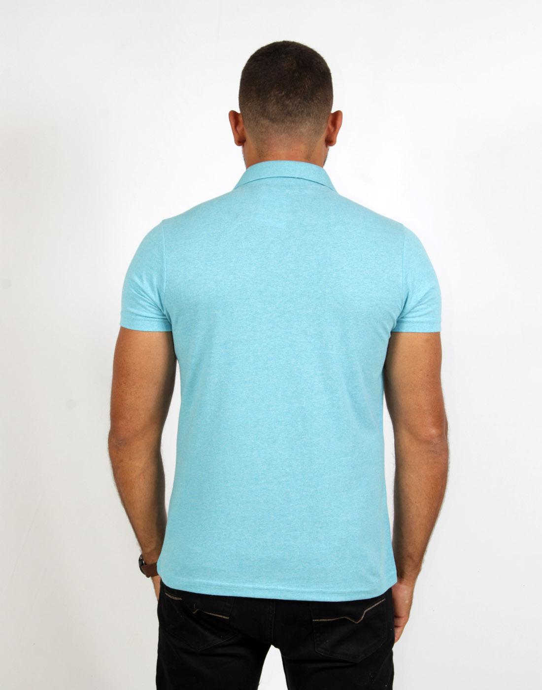 Camiseta Polo Masc. Lisa Azul Claro Fatal