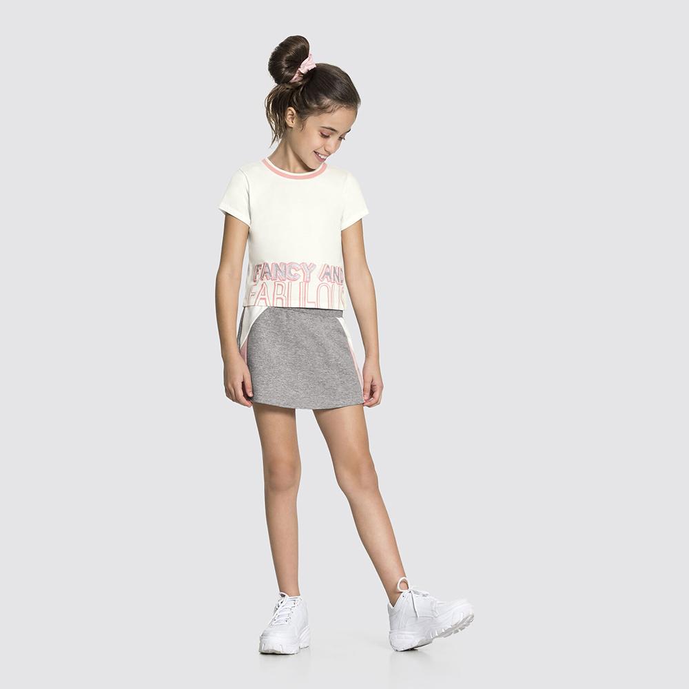 Conjunto Malha com Saia Modern Style Branco Off White Alakazoo