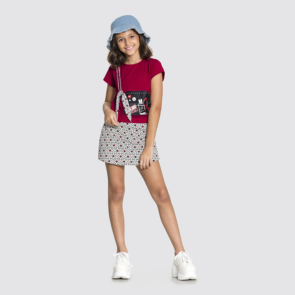Conjunto Malha Fashion Classic Vermelho Stop Sign Alakazoo
