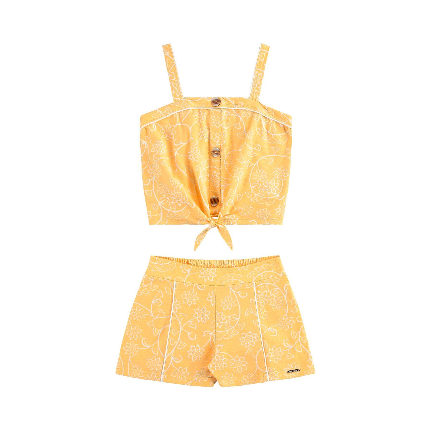 Conjunto Malha Texturas Amarelo Lotus Alakazoo