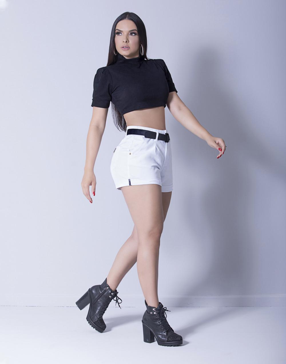 Short Jeans Intermediário com Cinto Branco Set Jeans