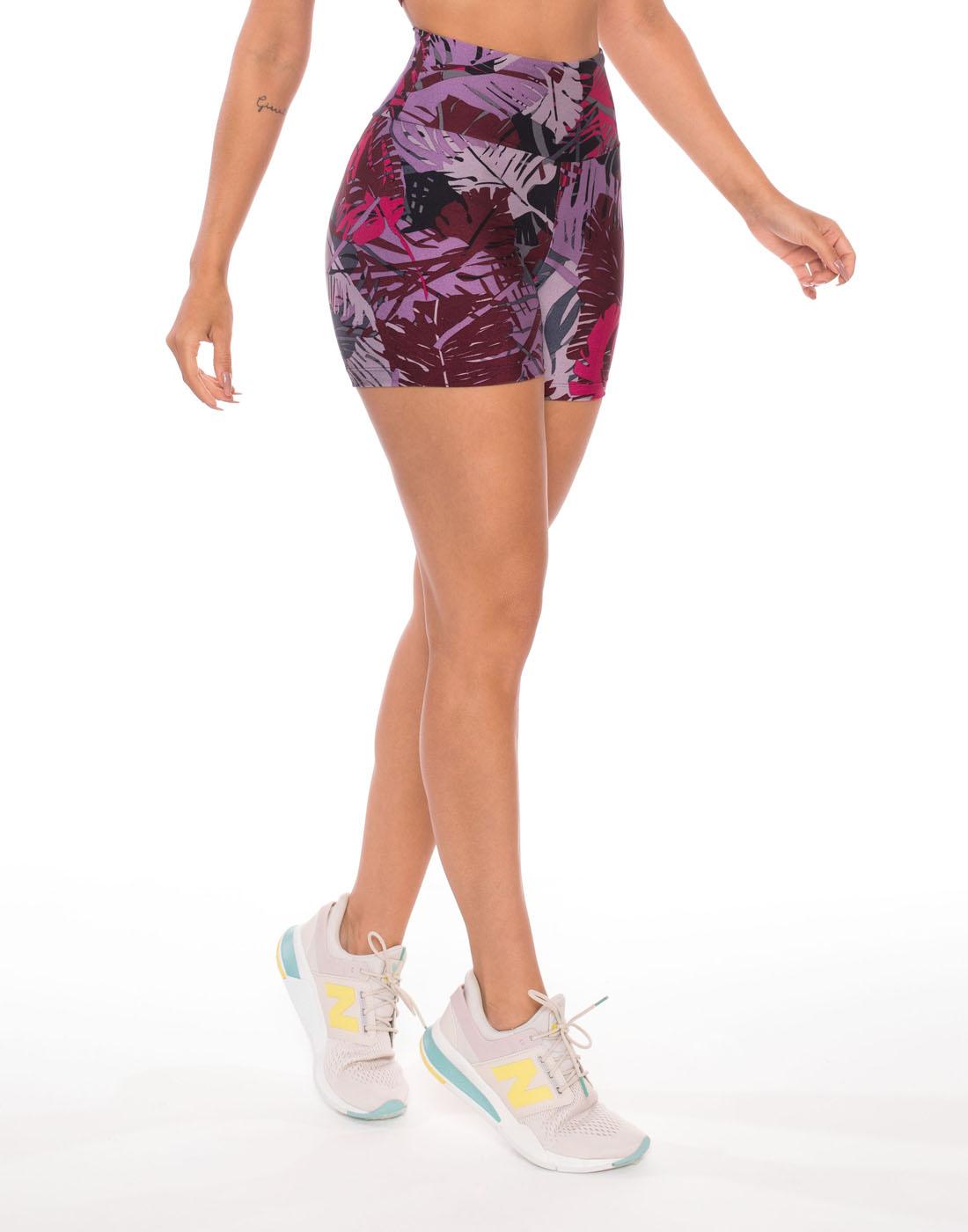 Short Mona Roxo Multicolorido Di Paula