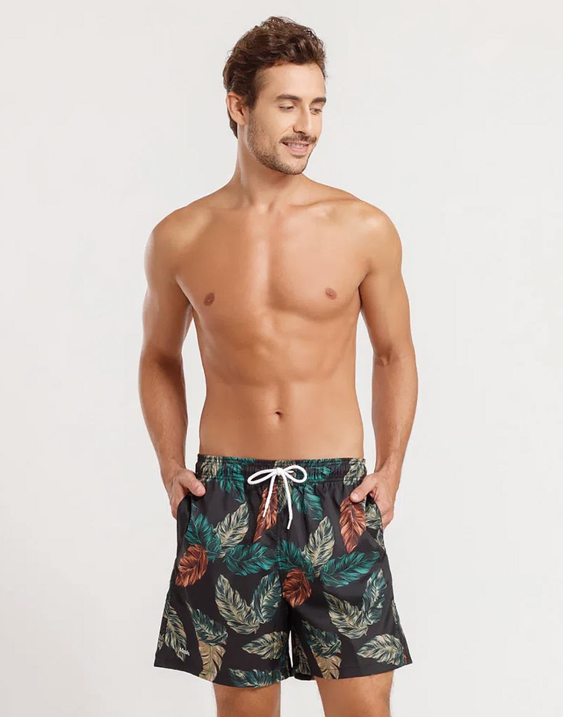 Shorts Classico Folhagem Tropical FPS 30 Masculino Mash