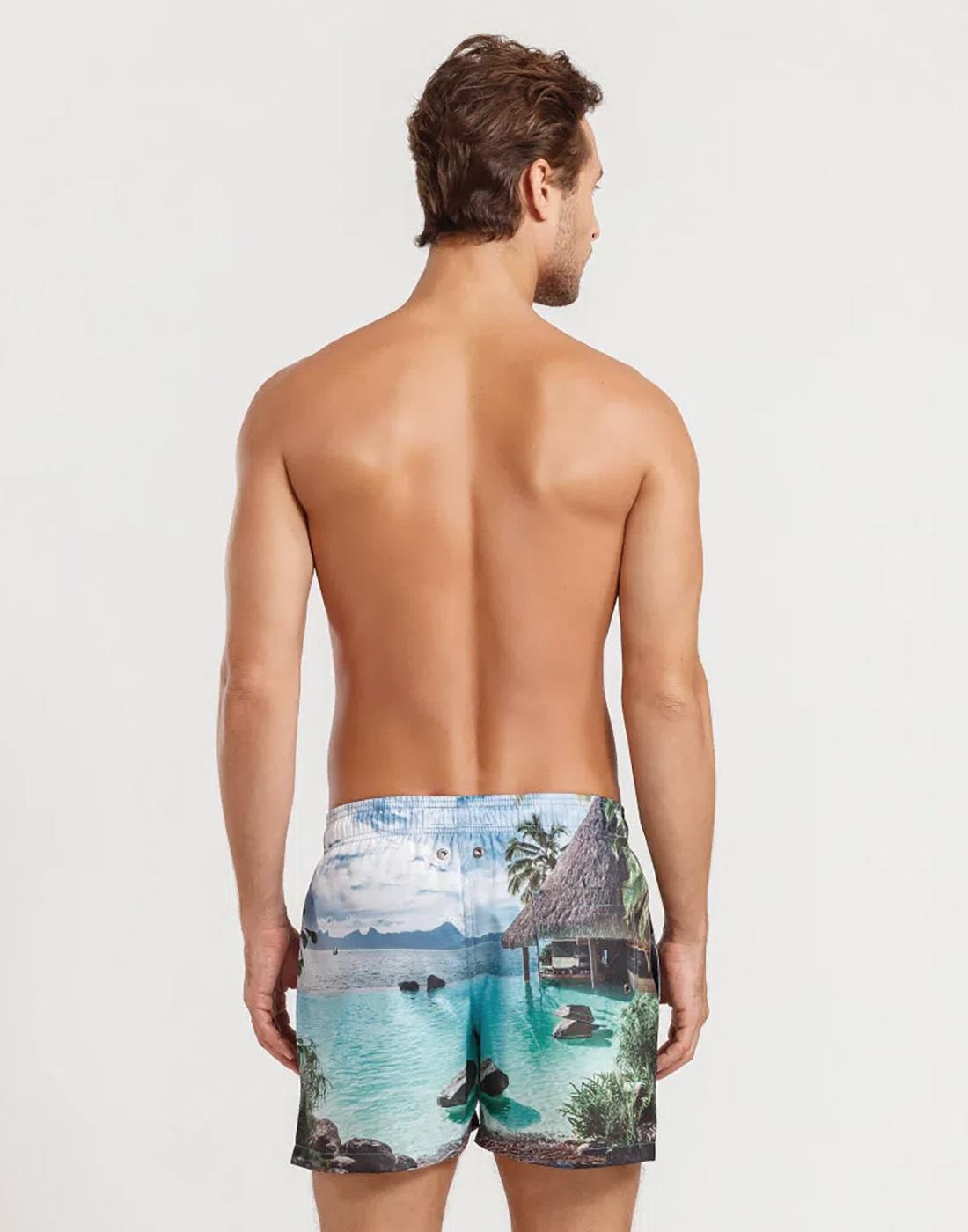 Shorts Curto Estampado FPS 30 Paisagem Masculino Mash
