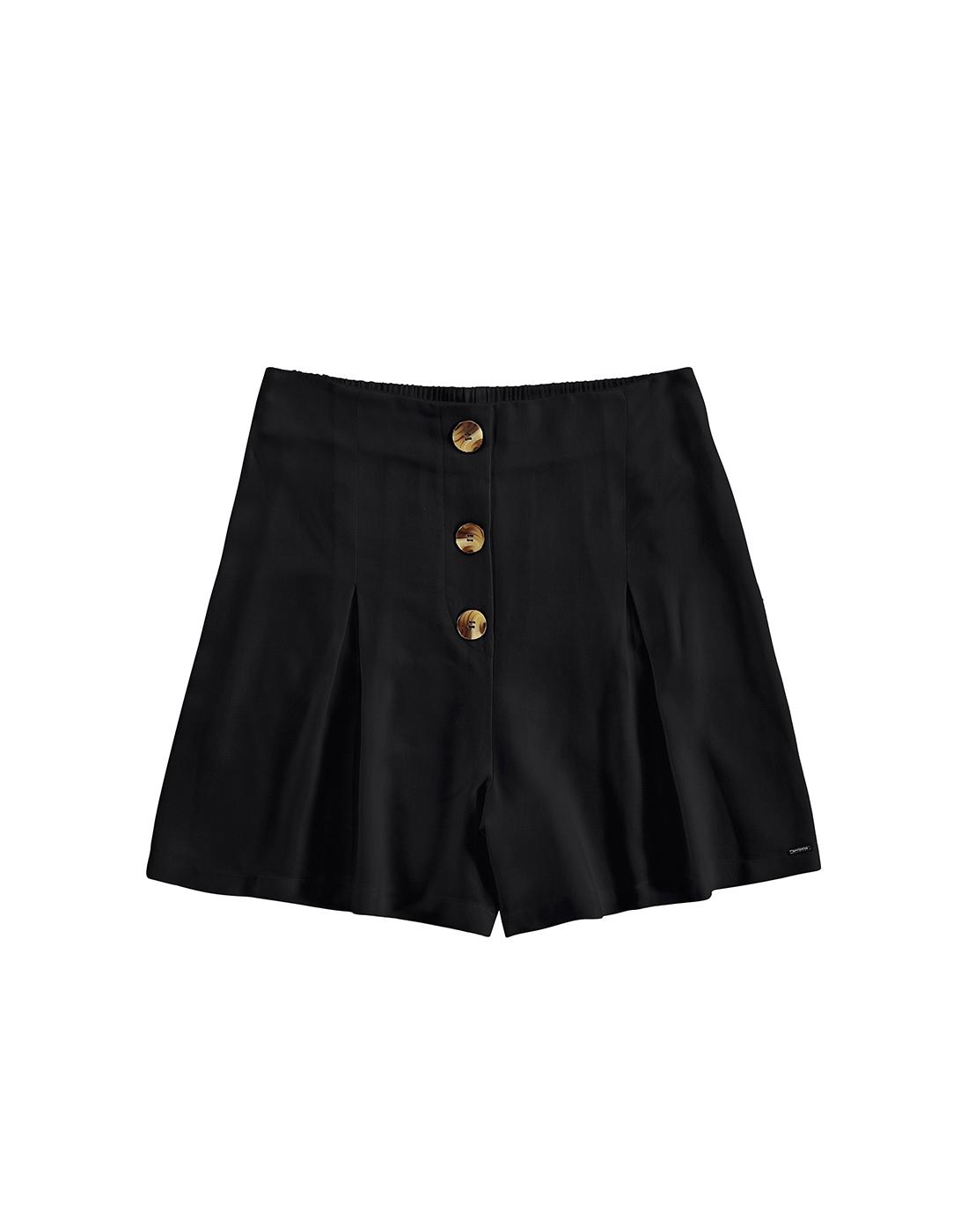 Shorts em Tecido Rayon Preto Reativo Lunender