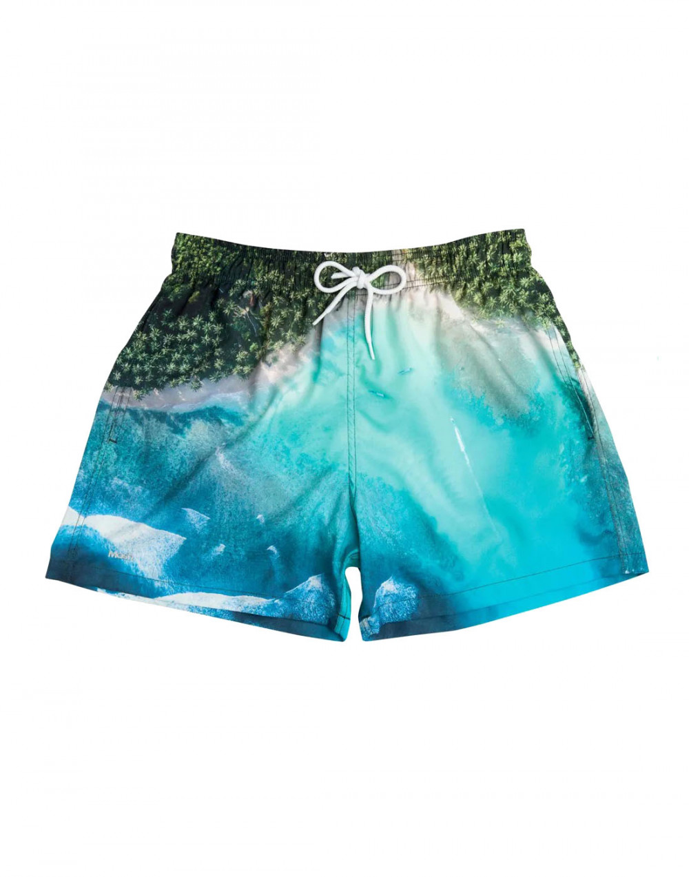 Shorts Praia Curto Estampada Paisagem Verde Mash