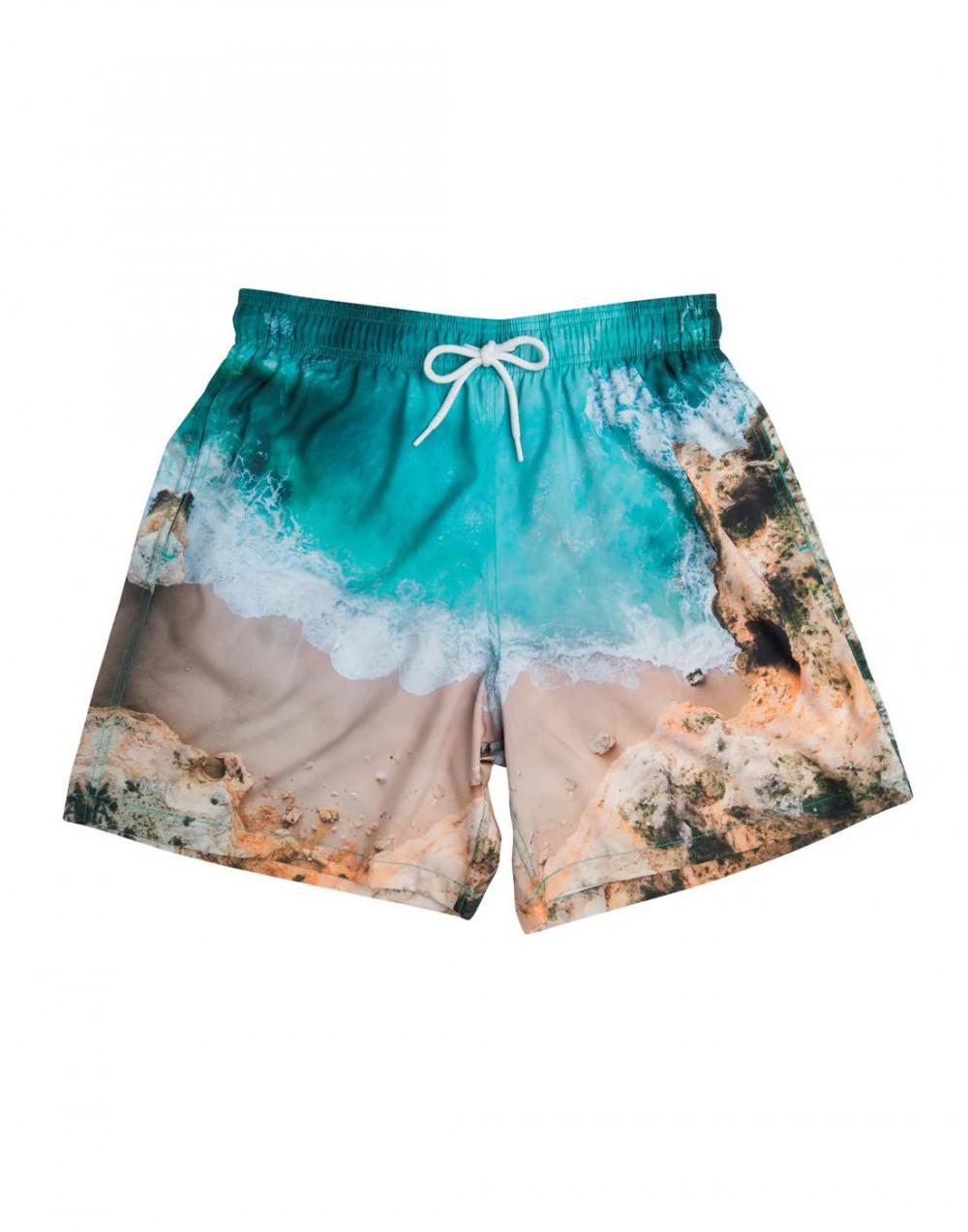 Shorts Praia Estampado Paisagem Azul Mash