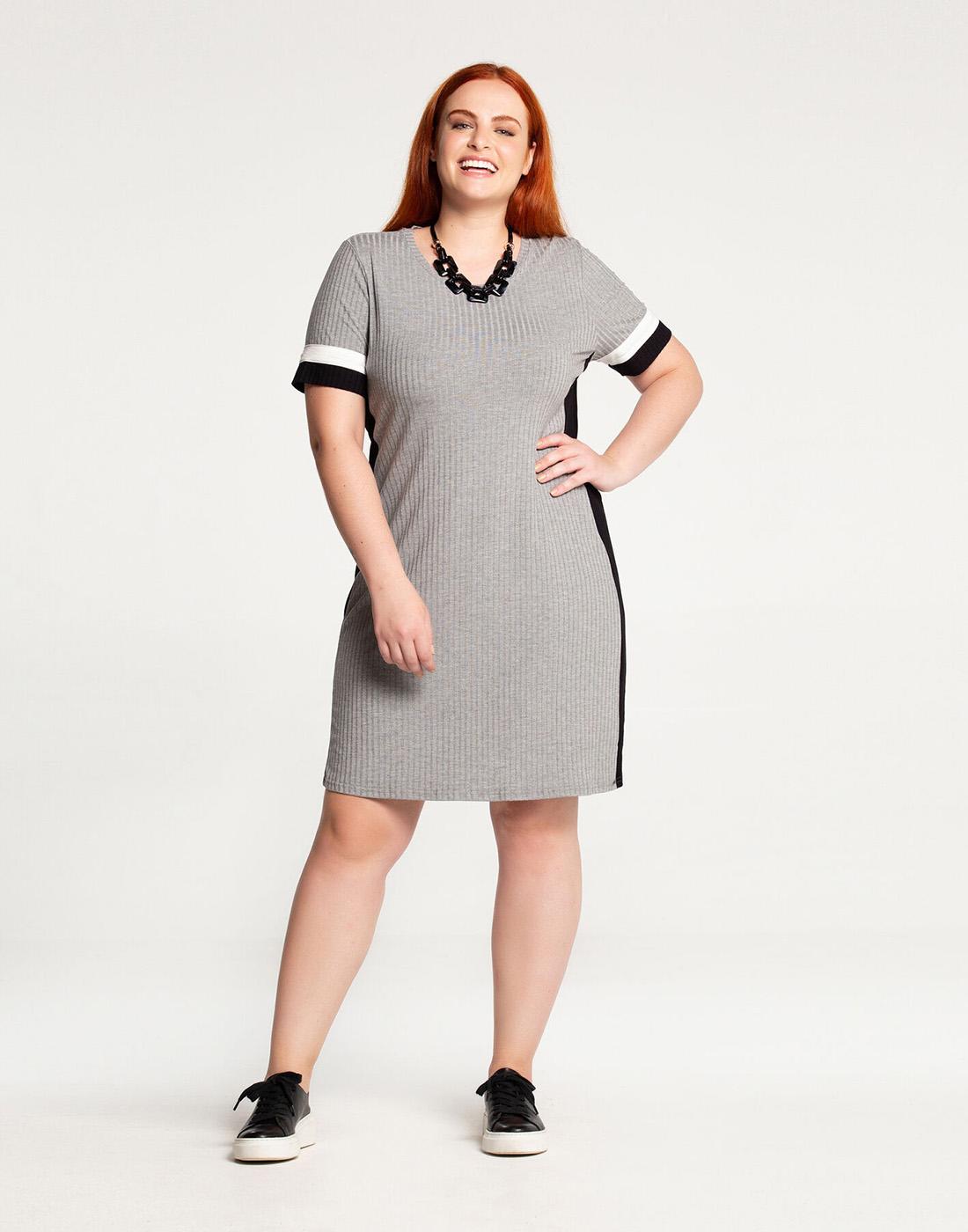 Vestido Curto Plus Size Malha Canelado Mescla Médio Lunender Mais Mulher