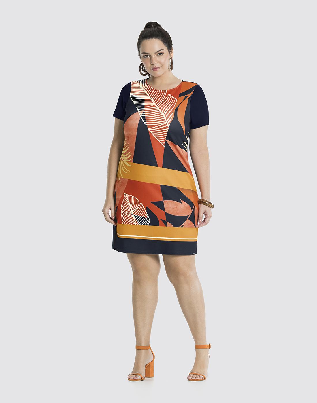 Vestido Estampado em Malha Diagonal Venecia Marinho Action Lunender Mais Mulher