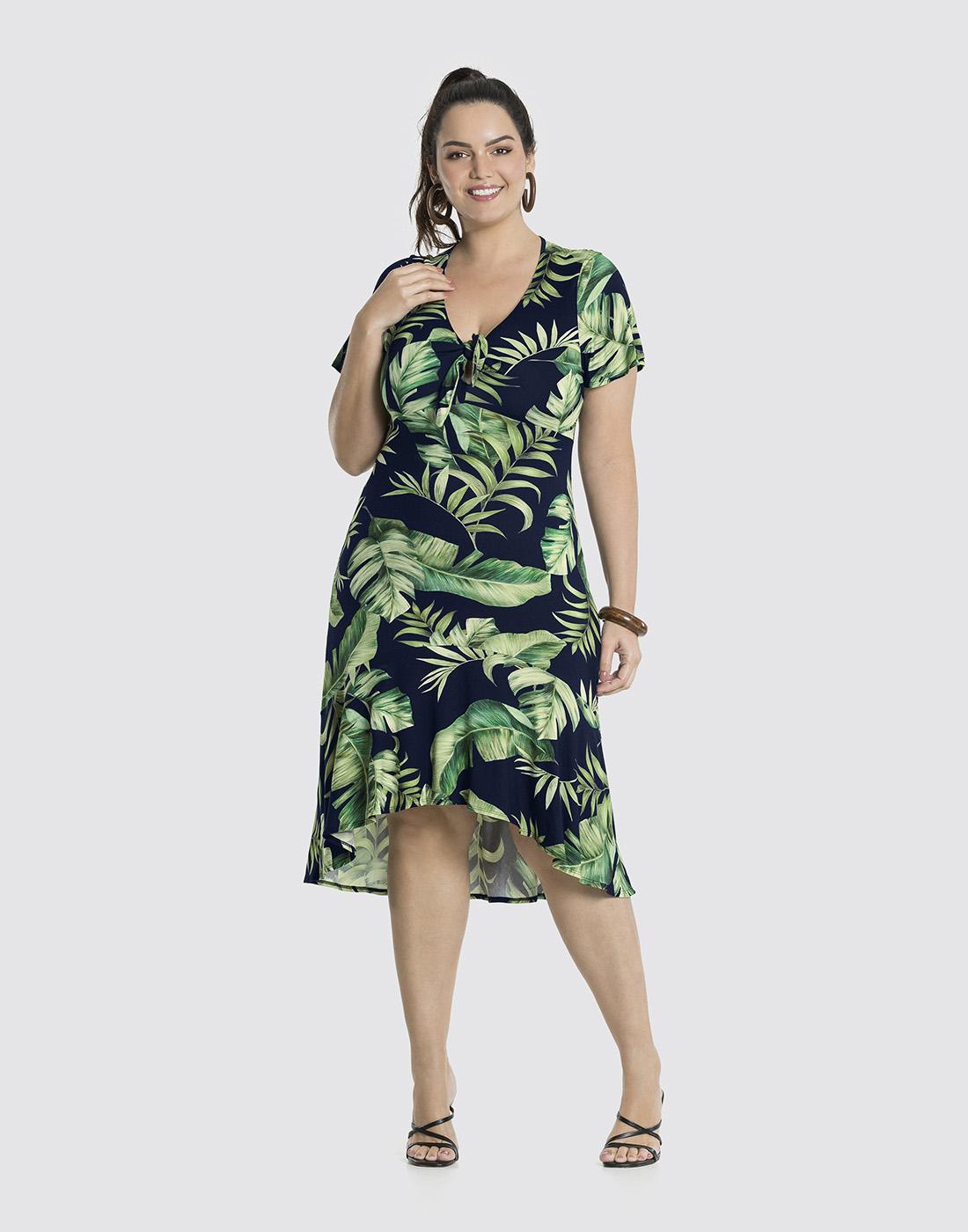Vestido Estampado em Malha MVS Thirty Plus Marinho Action Lunender Mais Mulher