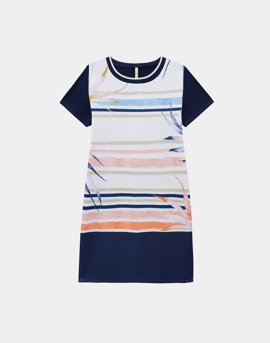 Vestido Estampado Plus Size Malha Diagonal Venecia e Crepe Marinho Action Lunender Mais Mulher