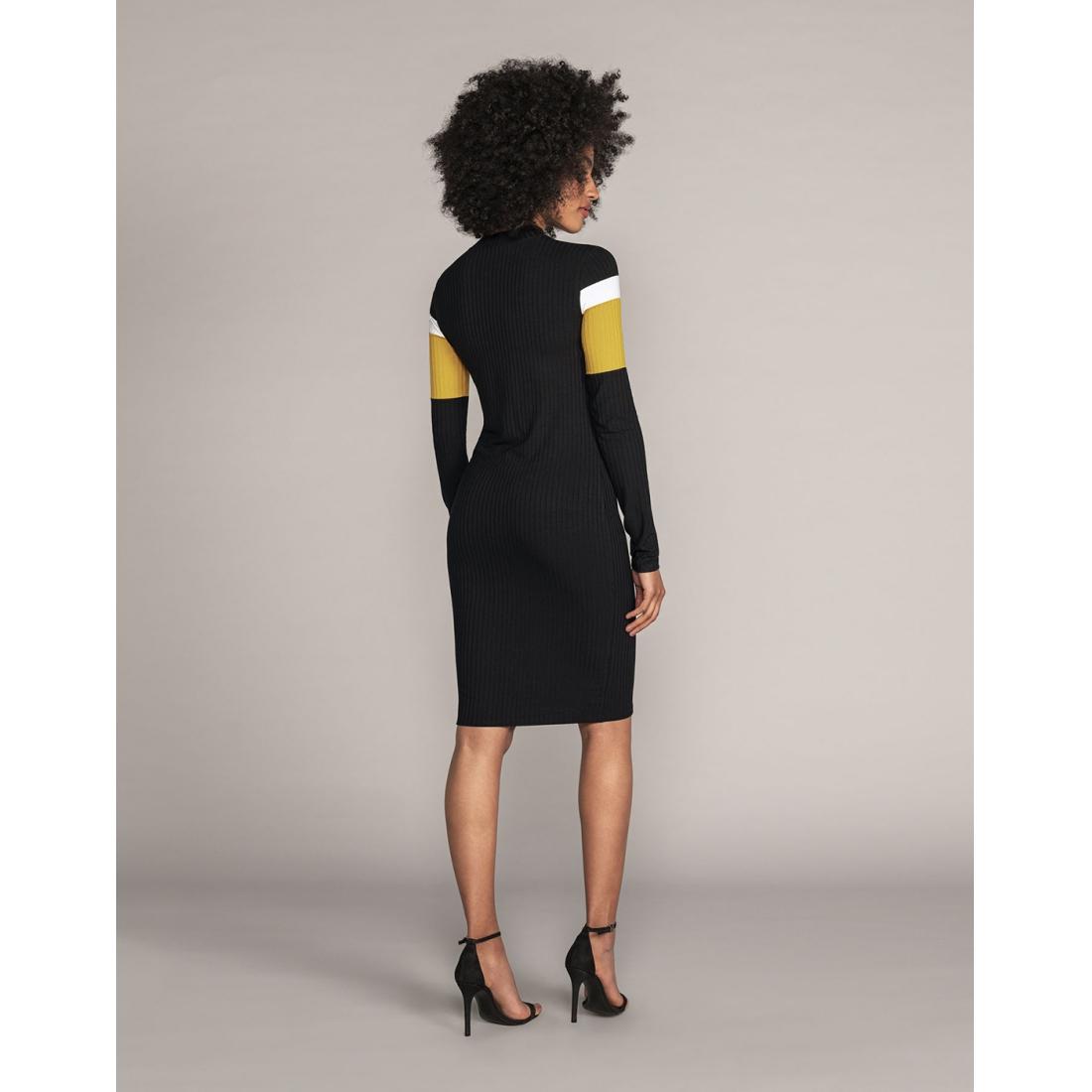 Vestido Malha Canelado Tracy Preto Reativo Lunender