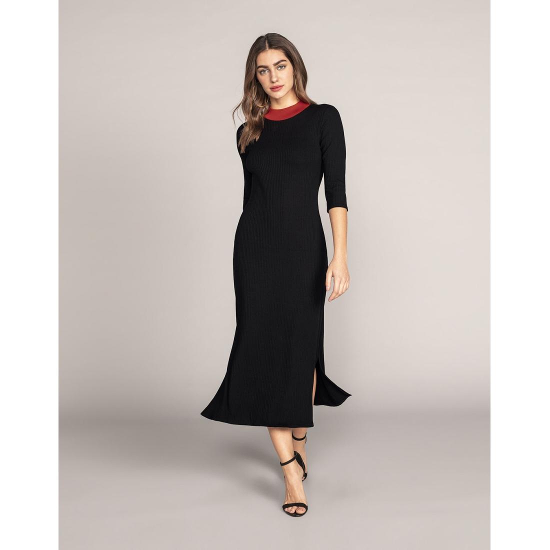 Vestido Malha Costine Malaga Preto Reativo Lunender