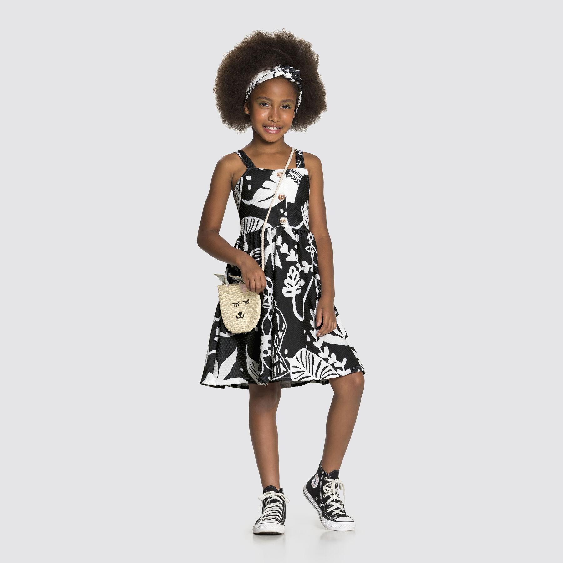 Vestido Malha de Alça Safari Preto Reativo Alakazoo