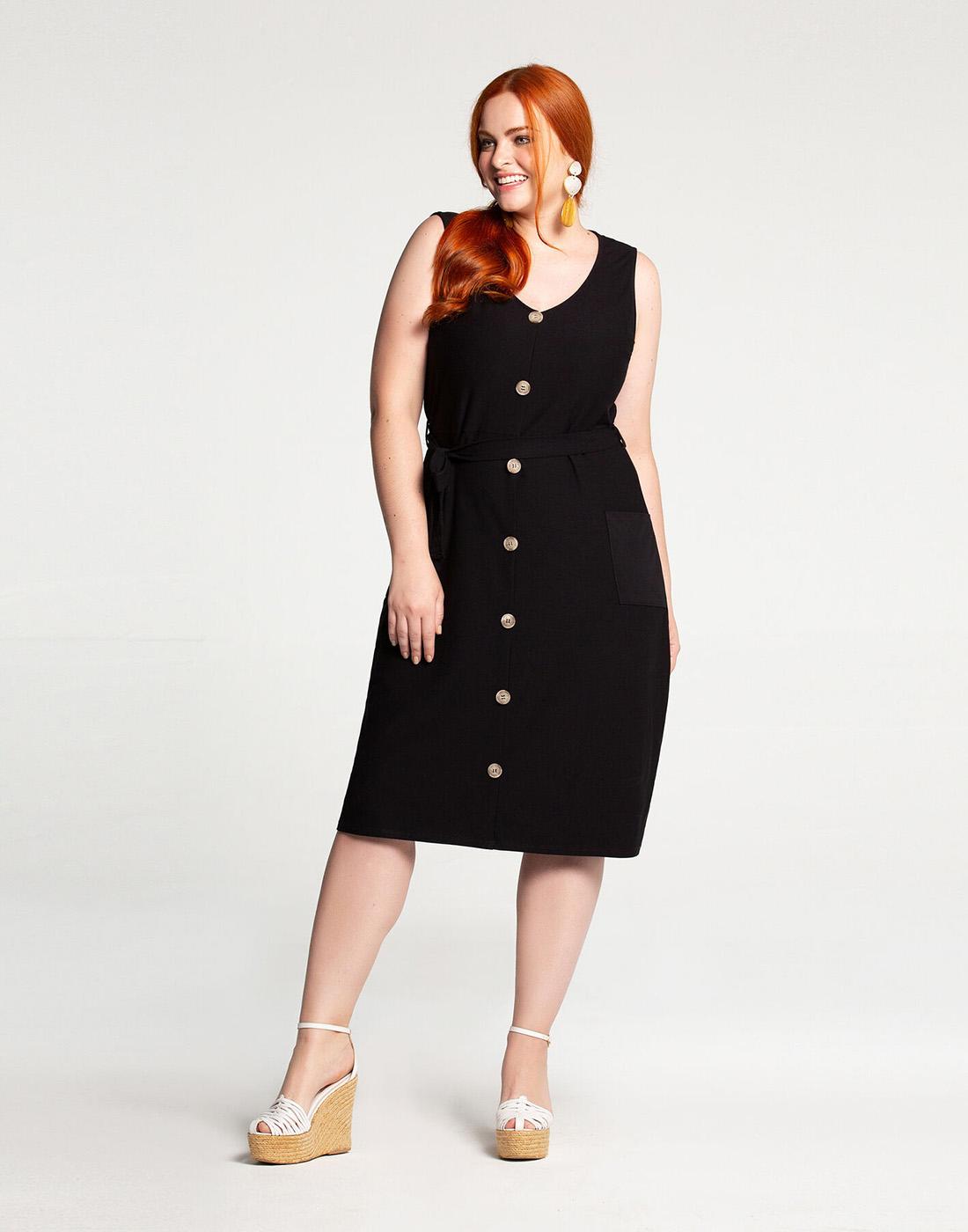 Vestido Midi Plus Size Malha Crepe Lunender Mais Mulher