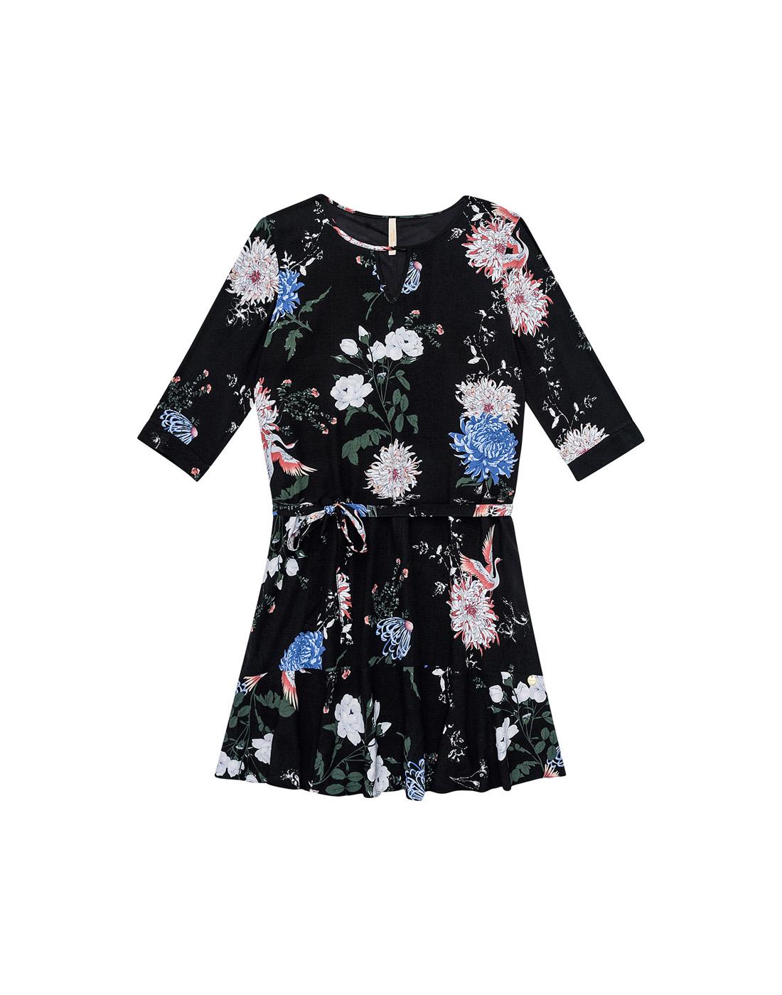 Vestido Tecido Rayon Bali Preto Reativo Lunender Mais Mulher