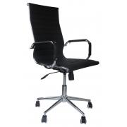 Cadeira Presidente Eames Office Cromada Lisa - Preta