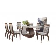 Mesa Alvorada 180×90 Café Vidro Off White 6 Cadeiras Ágata