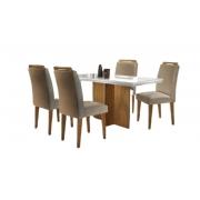 Mesa Berlim 120×80 - Vidro Off White 4 Cadeiras Athenas