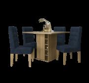 Mesa de Jantar de 4 Lugares com Porta Bebidas Camélia