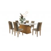 Mesa Luna 180×90 - Vidro Off White 6 Cadeiras