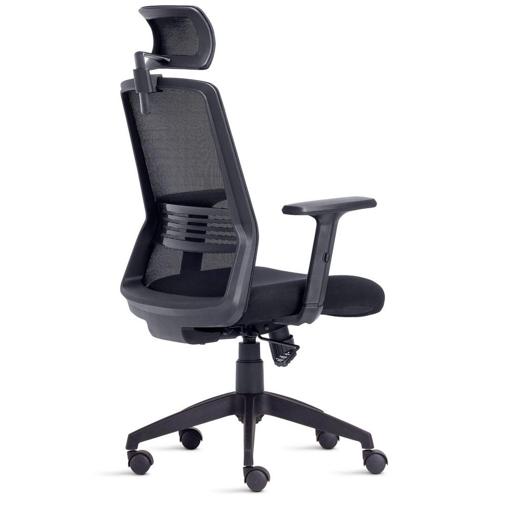 Cadeira de escritório Presidente Joy com Apoio de Cabeça com braços Tecido Preto