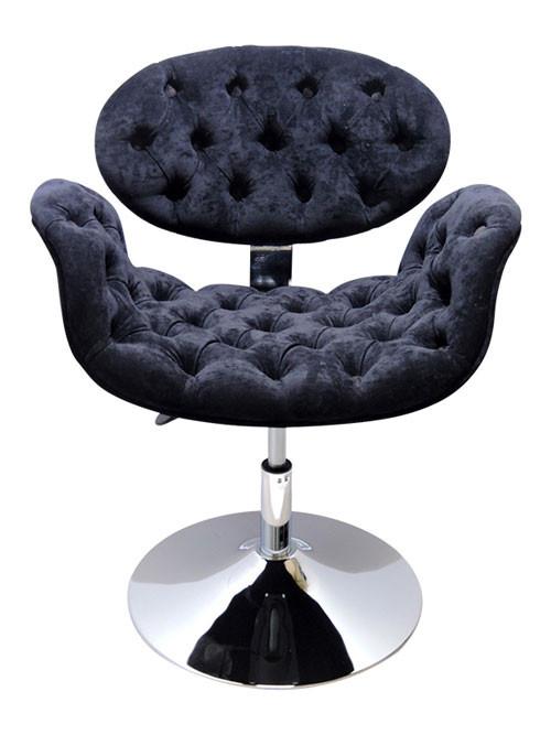 Cadeira Decorativa Tulipa Pierre Paulin - Disco Preta Capitonê