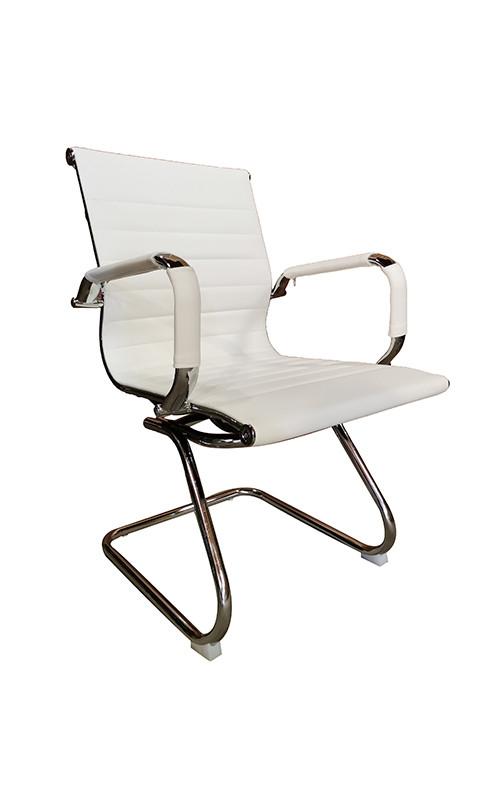 Cadeira Eames Diretor Fixa Cromada - Branca