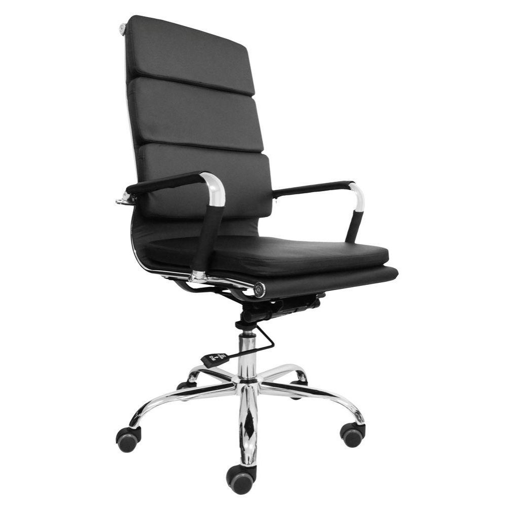 Cadeira Presidente Design Eames Preta Em Couro Pu