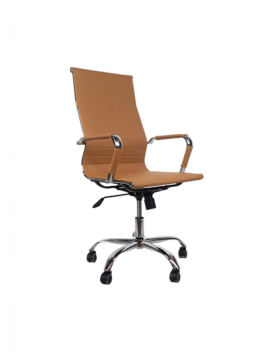 Cadeira Presidente Eames Office Cromada Lisa Caramelo