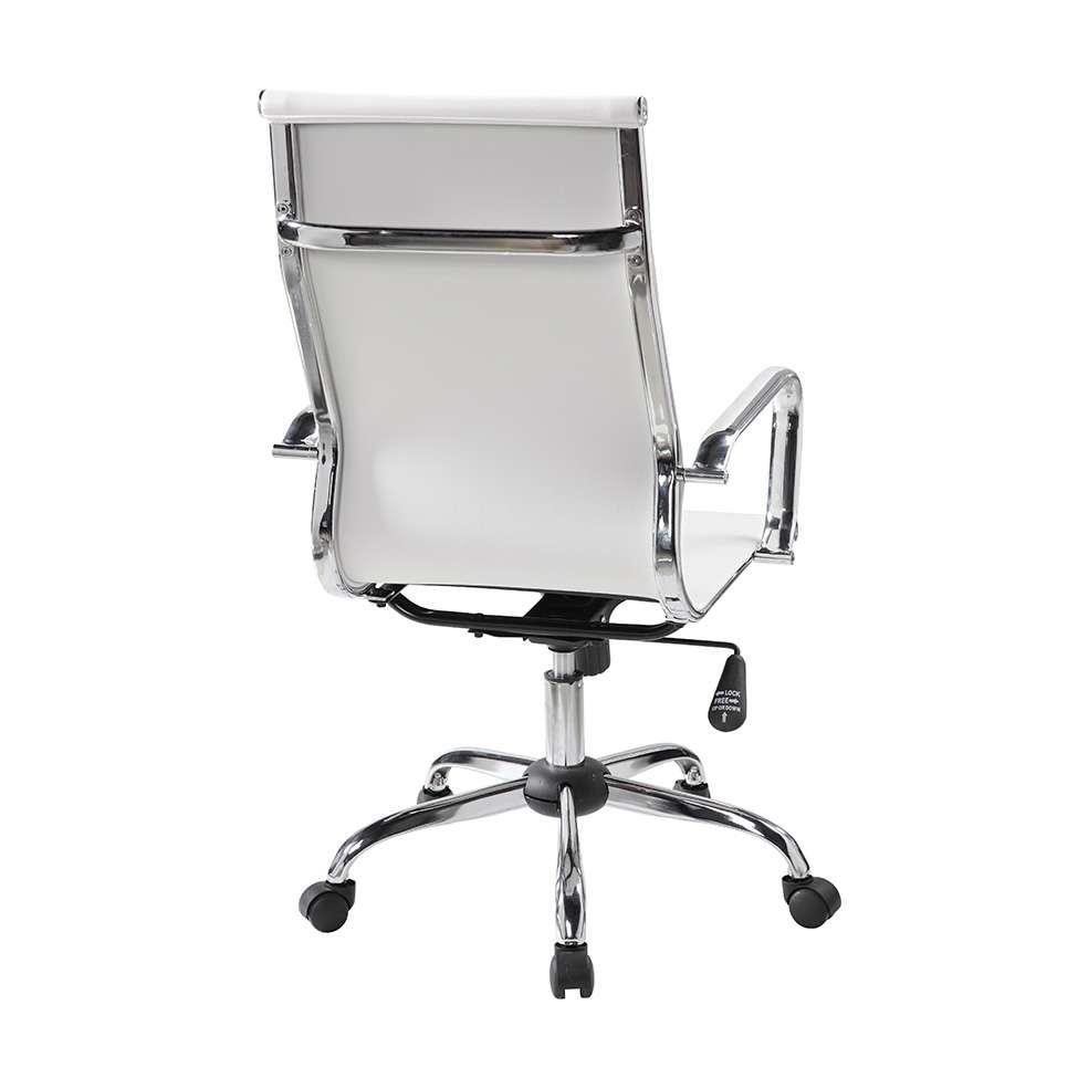 Cadeira Presidente Office Cromada Lisa Branca Eames