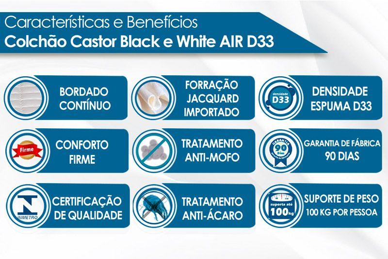 Colchão Espuma D33 Castor Black e White AIR O.F