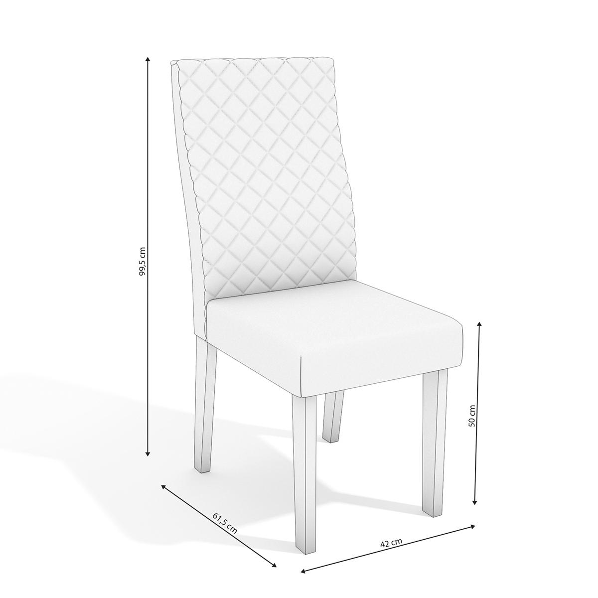 Conjunto Sala De Jantar Mesa 6 Cadeiras Kappesberg Bardana Off White Linho