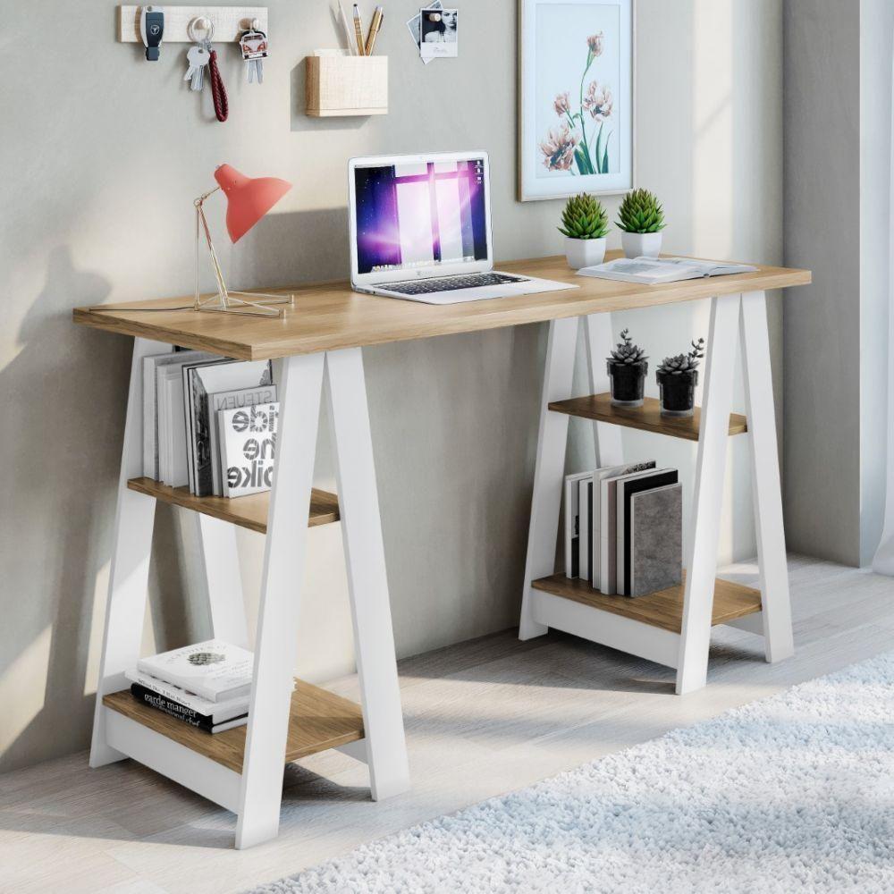 Escrivaninha 2 Prateleiras Moderna e Pequena Vigor