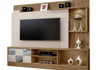 Estante Home para TV até 65 Polegadas 1 Porta com Espelho Dinamarca Plus