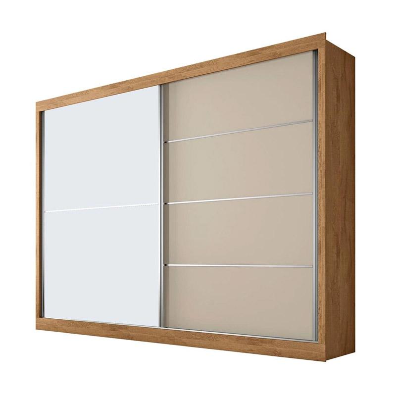 Guarda-Roupa com Espelho 2 Portas Larg. 2.02 m 100% MDF  Branco