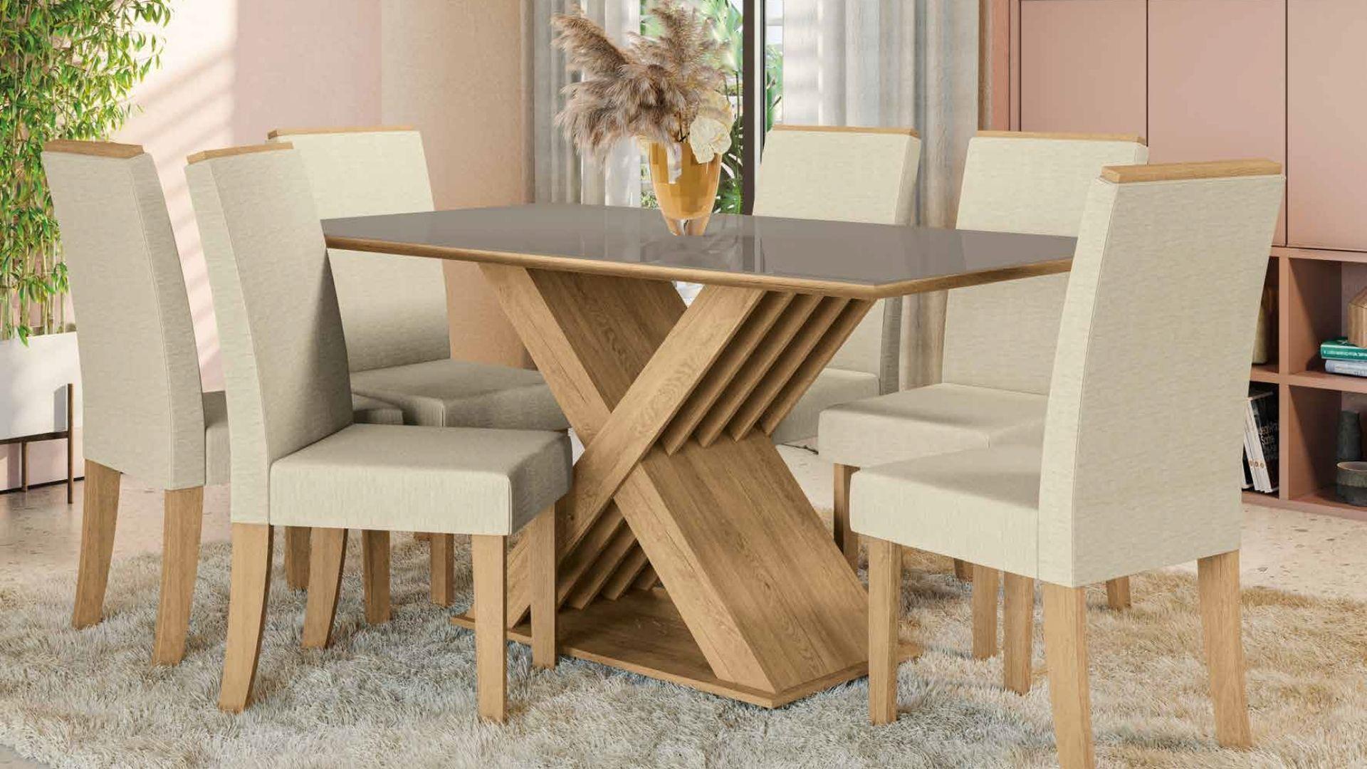 Mesa + 6 Cadeiras Graviola Freijó/Vidro Bronze/Linho -Sala De Jantar