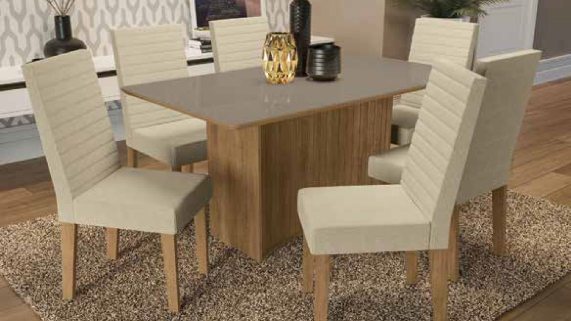 Mesa com 4 e 6 cadeiras de Madeira pura Cidra